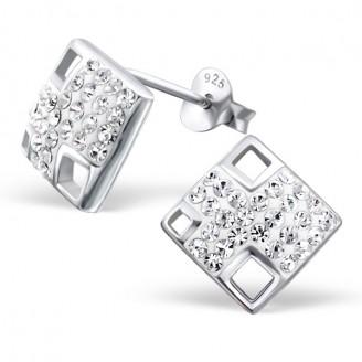 """Stříbrné náušnice s krystaly """"Měsíční svit"""". Ag 925/1000"""
